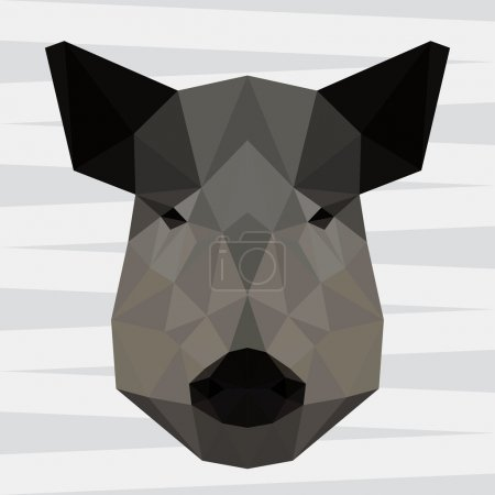 Abstract polygonal geometric wild boar portrait for use in design for card, invitation, poster, banner, placard or billboard background