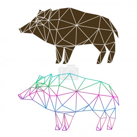 Abstract geometric wild boar set isolated on white background for use in design
