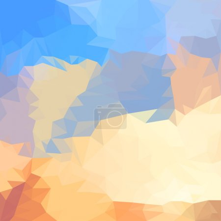Abstract bright blue summer sky with clouds colored polygonal triangular background for use in design for card, invitation, poster, banner, placard or billboard cover
