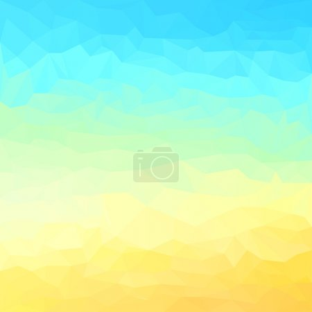 Abstract bright summer sky and yellow sand colored polygonal triangular background for use in design for card, invitation, poster, banner, placard or billboard cover