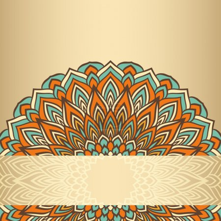 Hand-drawing ornamental floral abstract lace round isolated on soft gold gradient colored background for use in design for card, invitation or banner cover