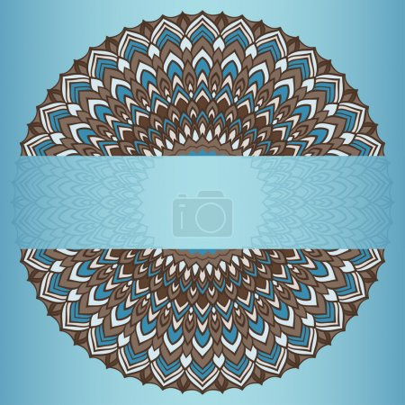 Brown and blue colored hand-drawing ornamental abstract lace round with many details isolated on blue gradient colored background for use in design for card, invitation or banner cover