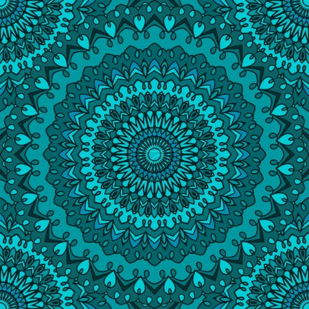 Bright colored hand-drawing ornamental abstract seamless lace background with many details for design of silk neckerchief or printing on textile or use for card, invitation or banner cover