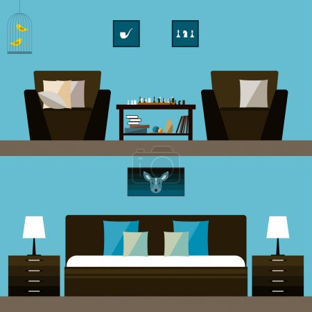 Simple interior. Trendy flat style interior isolated on bright stylish cover