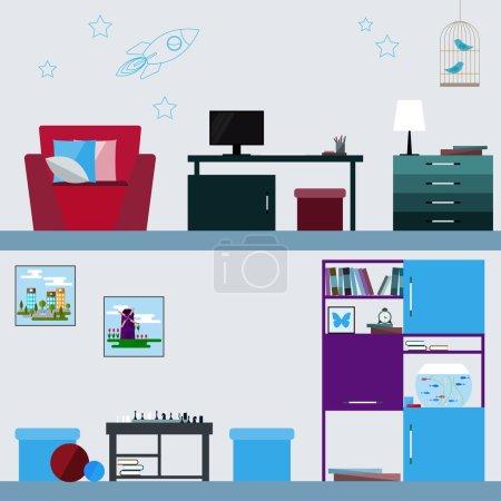 children room interior in trendy flat style for design