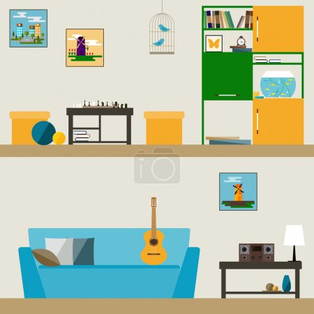 children room interior in trendy flat style for use in design