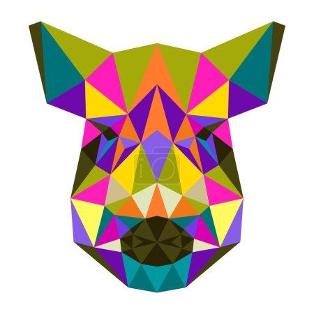 Illustration pour Sanglier abstrait. Illustration géométrique triangle polygonale multicolore brillant isolé sur fond blanc pour une utilisation dans la conception de cartes, d'invitations, d'affiches, de bannières, de livres, de pancartes, de couvertures de panneaux publicitaires - image libre de droit