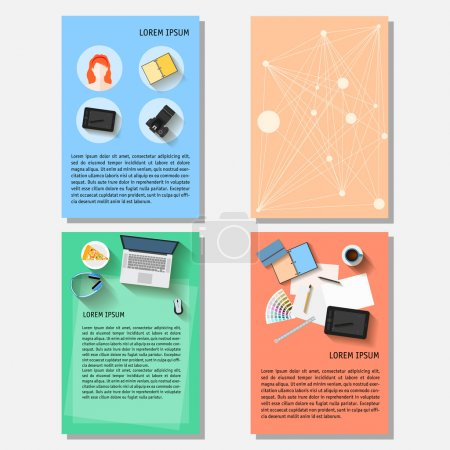 Illustration for Business time theme. Bright backgrounds collection with everyday life electronic objects in trendy flat style with long shadow isolated on stylish cover for design card, poster, placard, brochures. - Royalty Free Image