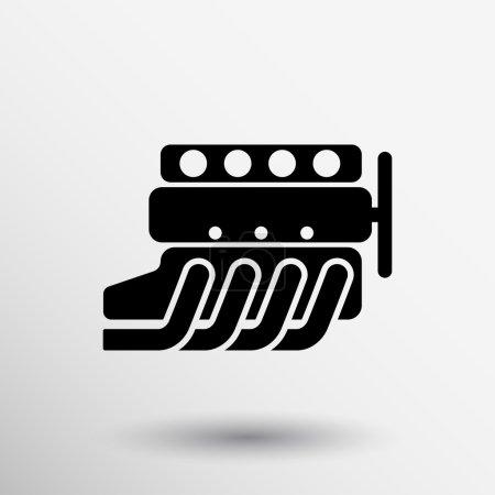 Illustration pour Symbole de moteur de voiture, silhouette vectorielle stylisée du moteur automobile . - image libre de droit