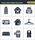 Icons set premium quality of hotel service amenities rent house facilities Modern pictogram collection flat design style symbol collection Isolated white background