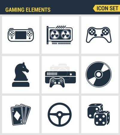 Icons setzen Premium-Qualität klassischer Spielobjekte, mobiler Gaming-Elemente. moderne Kollektion von Piktogrammen mit flachem Design und Symbolkollektion. isolierter weißer Hintergrund.