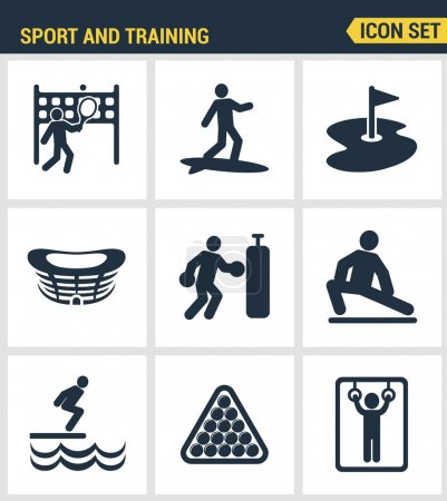 Icons set premium quality of outdoor sports training, various athletic activity Modern pictogram collection flat design style symbol collection. Isolated white background.