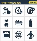 Icons set premium quality of fitness icon Sports food load mode burn calories healthy food diet fitness Modern pictogram collection flat design style symbol collection Isolated white background
