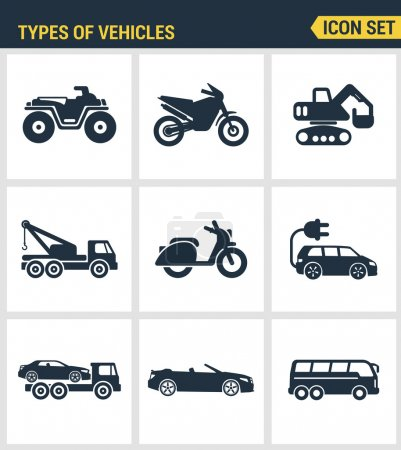 Symbole setzen Premium-Qualität der Arten von Fahrzeugen Verkehr Autotransport Auto-Symbol gesetzt. moderne Kollektion von Piktogrammen mit flachem Design und Symbolkollektion. isolierter weißer Hintergrund.