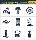Icons set premium quality of plants growing and agronomy farming farmer bio stem Modern pictogram collection flat design style symbol collection Isolated white background