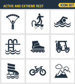 Icons set premium quality of active and extreme rest holiday weekend sports hobby life style Modern pictogram collection flat design style symbol collection Isolated white background