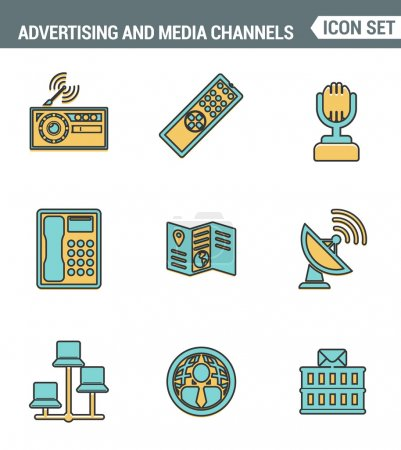 Icons line set premium quality of advertising media channels and ads distribution. Modern pictogram collection flat design style. Isolated white background