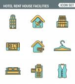 Icons line set premium quality of hotel service amenities rent house facilities Modern pictogram collection flat design style symbol  Isolated white background