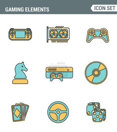 Icons Line setzt die Premium-Qualität klassischer Spielobjekte, mobiler Spielelemente. moderne Piktogramm-Kollektion flaches Design-Stilsymbol. isolierter weißer Hintergrund