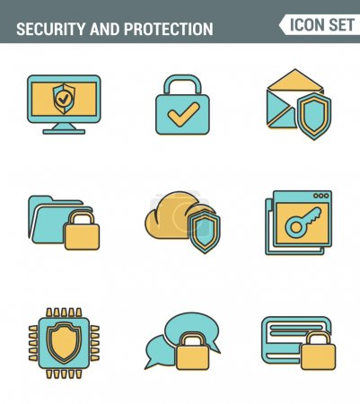 Icons line set premium quality of cyber security, computer network protection. Modern pictogram collection flat design style symbol . Isolated white background