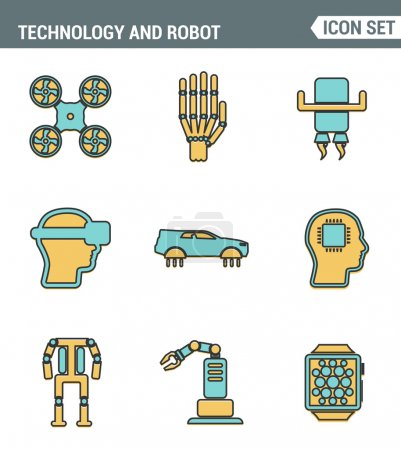 Icons line set premium quality of future technology and artificial intelligent robot. Modern pictogram collection flat design style symbol . Isolated white background