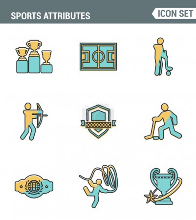Icons line set premium quality of sports attributes, fans support, club emblem. Modern pictogram collection flat design style symbol . Isolated white background