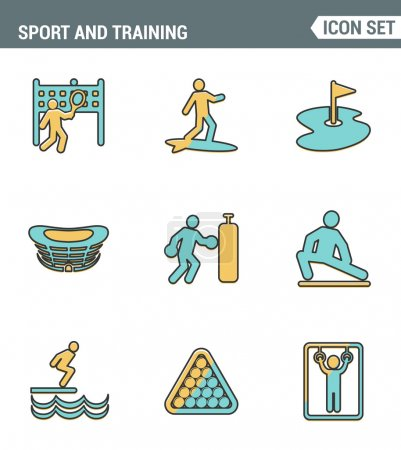 Icons line set premium quality of outdoor sports training, various athletic activity Modern pictogram collection flat design style symbol . Isolated white background