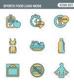 Icons line set premium quality of fitness icon Sports food load mode burn calories healthy diet Modern pictogram collection flat design style symbol Isolated white background