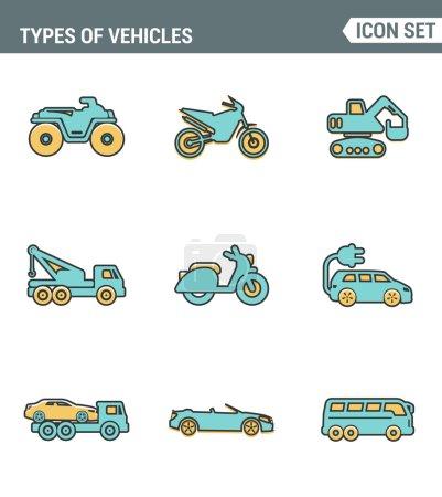 Symbole Linie setzen Premium-Qualität der Arten Fahrzeuge Verkehr Auto Transport Auto-Symbol. moderne Piktogramm-Kollektion flaches Design-Stilsymbol. isolierter weißer Hintergrund