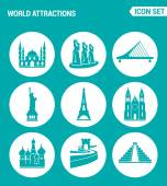 Vector set web icons World attractions Mosque rapa nui Bridge Statue Liberty Eiffel Tower Church Chinese Wall Pyramid Design of signs symbols on a turquoise background