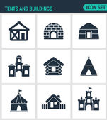 Set modern vector icons Tents and buildings tent culture indian mandala arabic turkish castle fort hut courtyard Black signs on a white background Design isolated symbols and silhouettes