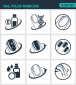 Set of modern vector icons Nail polish manicure care shine Black signs on a white background Design isolated symbols and silhouettes