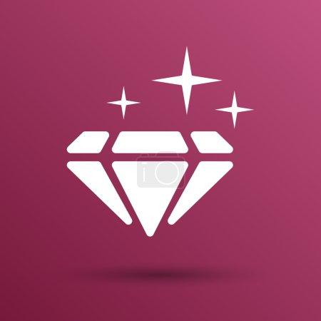 Illustration of a blue  diamond icon glitter icon stone.
