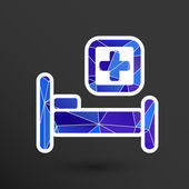 Hospital bed and cross vector icon doctor health care