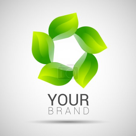 Illustration for Abstract twisted eco sphere green leaf logo. - Royalty Free Image
