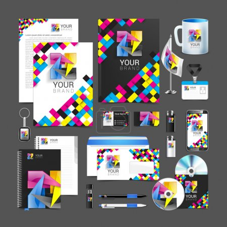 Illustration for Cmyk Corporate Identity stationery template design abstract symbol. - Royalty Free Image