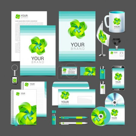 Illustration for White corporate identity template design green  turquoise Business stationery. - Royalty Free Image