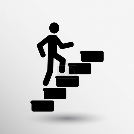 Man on stairs icon vector button logo symbol conce...