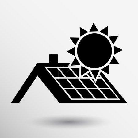 Illustration pour Panneau solaire icône de toit bouton vectoriel logo symbole concept . - image libre de droit