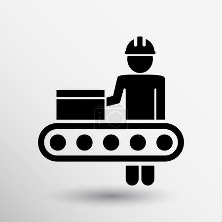 Illustration pour Atelier d'ingénierie Opération industrielle icône bouton vectoriel logo symbole concept . - image libre de droit
