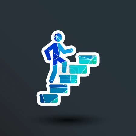 man on stairs icon vector button logo symbol concept