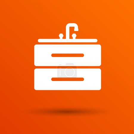Kitchenware sink basin icon vector button logo symbol concept