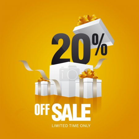 Sale 20 percent off card orange background