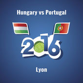 Euro 2016 Hungary vs Portugal vector blue background
