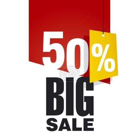 Большие продажи 50% off красный фон