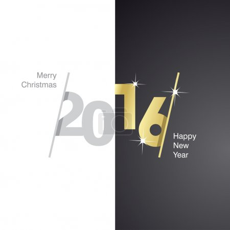 2016 Happy New Year gray gold black background