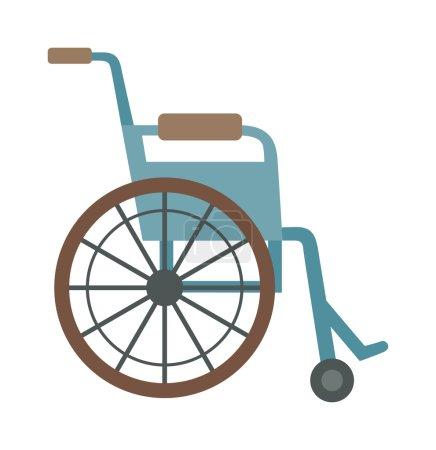 Illustration pour Icône médicale design plat en fauteuil roulant. Fauteuil roulant d'illustration. Fauteuil roulant standard et personnalisé. Course en fauteuil roulant personnes handicapées. Fauteuil roulant Handicap Cartoon. Transport handicapé - image libre de droit