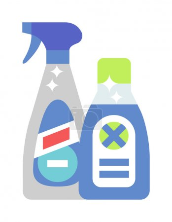 Cleaning product detergent plastic bottles and spray bottle isolated cartoon flat vector on white background.