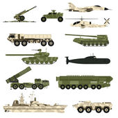 Military technic icon set and armor tanks flat vector illustration