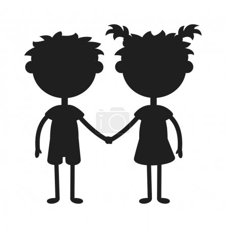 Illustration for Twins kids holding hands black silhouette and cute twins kids together. Twins happy kids silhouette holding hands boy and girl vector illustration - Royalty Free Image